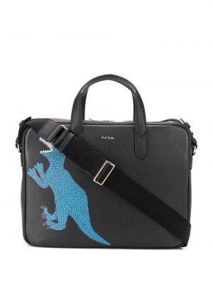 Кожаная черная сумка для ноутбука на молнии с карманами Paul Smith
