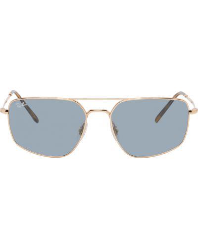 Złote niebieskie okulary Ray-ban