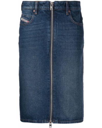 Spódnica jeansowa z paskiem - niebieska Diesel