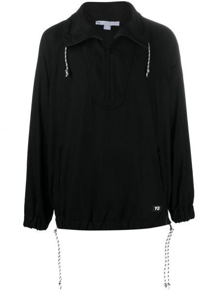Wełniany z rękawami czarny pulower z łatami Y-3
