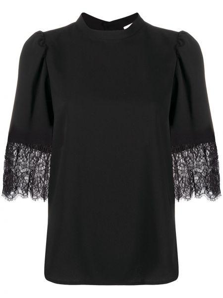 Черная блузка с короткими рукавами со вставками See By Chloé
