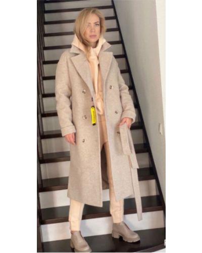 Шерстяное длинное пальто с поясом на пуговицах Leo Pride