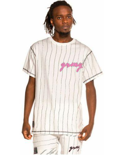 Biała T-shirt z nadrukiem z printem Grimey
