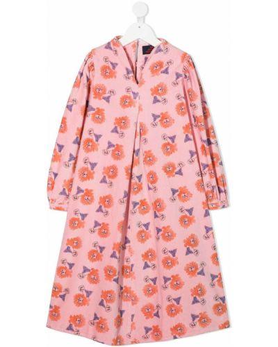 Różowa sukienka midi zapinane na guziki bawełniana The Animals Observatory
