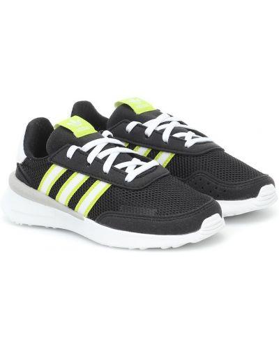 Czarny włókienniczy sneakersy z paskami Adidas Originals Kids