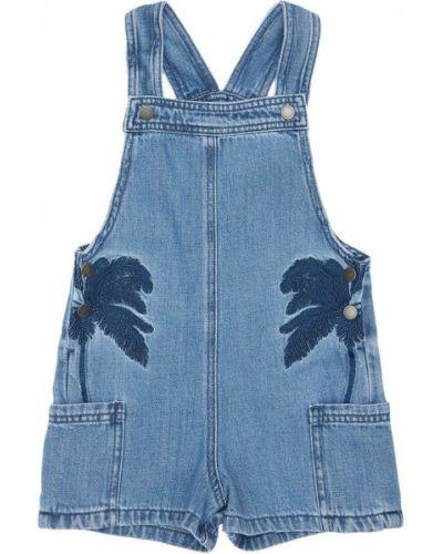 Ватный хлопковый синий джинсовый комбинезон Stella Mccartney Kids
