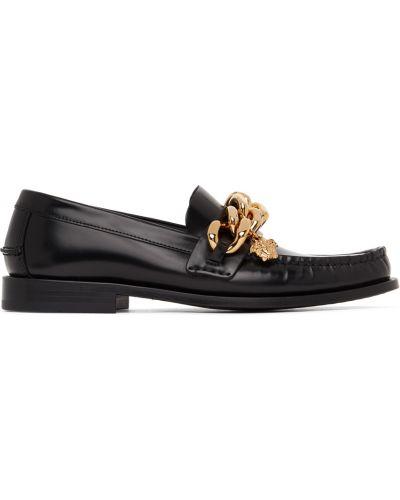 Кожаные лоферы - черные Versace