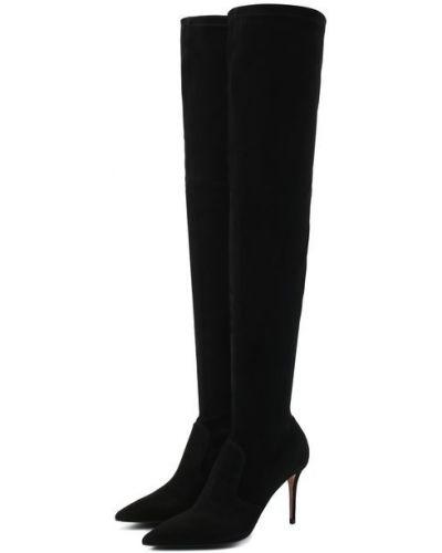 Черные замшевые ботфорты с подкладкой Le Silla