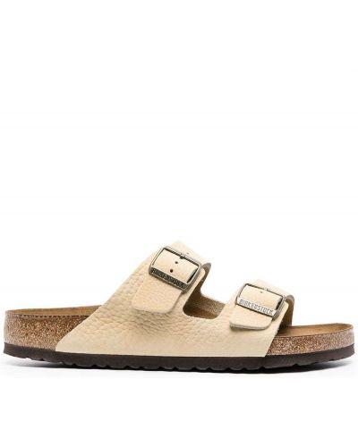 Beżowy skórzany sandały z klamrą wytłoczony Birkenstock
