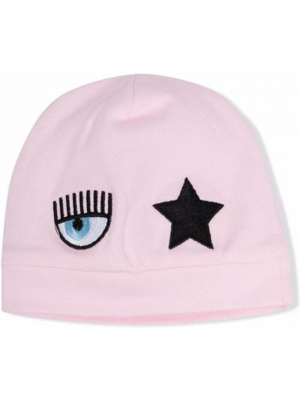 Różowy kapelusz bawełniany z haftem Chiara Ferragni Kids