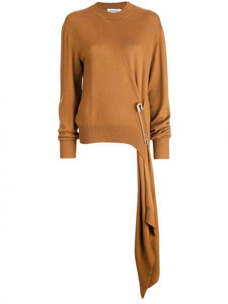 Коричневый вязаный свитер с воротником в рубчик Monse