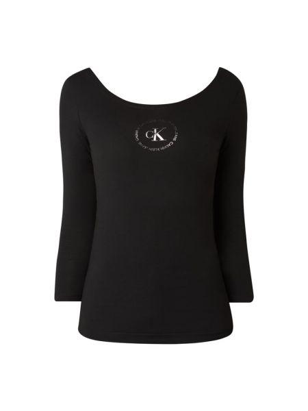Z rękawami bawełna czarny bluzka z dekoltem Calvin Klein Jeans