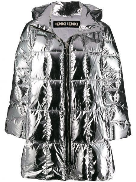 Куртка с капюшоном оверсайз серебряная Ienki Ienki