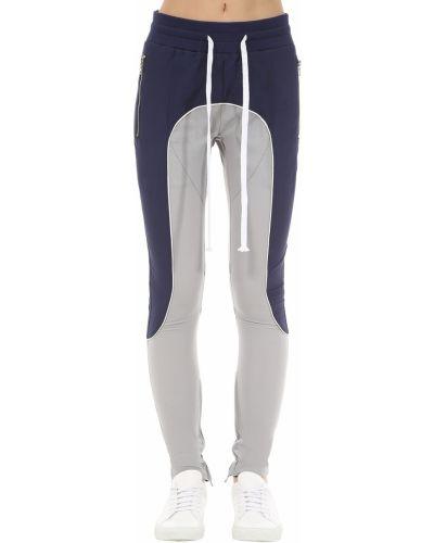 Niebieskie spodnie z haftem z nylonu Lifted Anchors