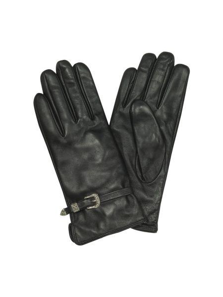 Czarne rękawiczki skorzane Roccobarocco