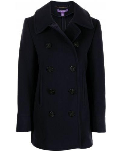 Синее кашемировое пальто классическое двубортное Polo Ralph Lauren