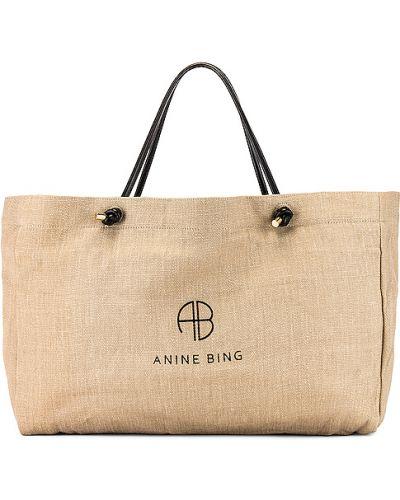 Otwarty brezentowy zielony torba z uchwytami prążkowany Anine Bing