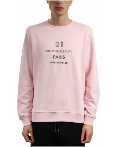 Sweter z printem - różowy Karl Lagerfeld