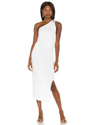 Белое кашемировое платье рубашка с оборками Lna