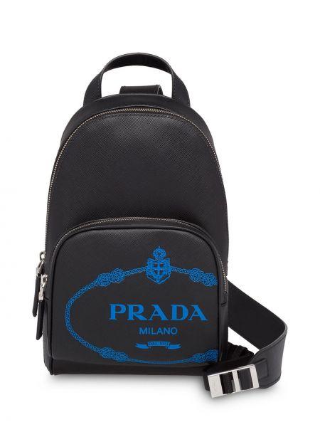 Czarny plecak skórzany Prada