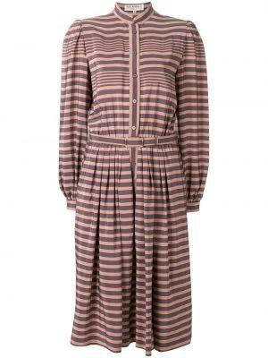 Расклешенное платье миди с длинными рукавами винтажное на пуговицах Ted Lapidus Vintage
