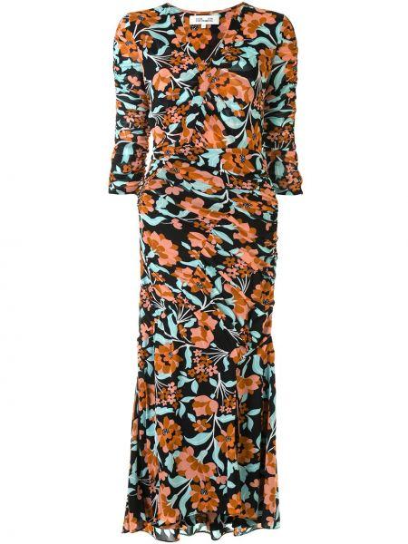 Нейлоновое приталенное платье миди с V-образным вырезом с оборками Dvf Diane Von Furstenberg