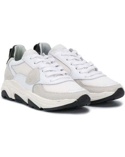Кожаные белые кроссовки со вставками на шнуровке Philippe Model Kids