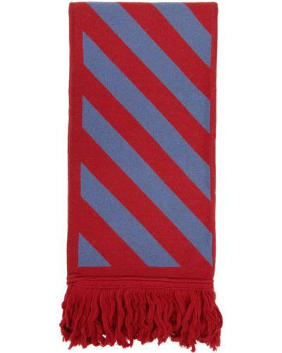 Niebieski szalik wełniany z frędzlami Off-white