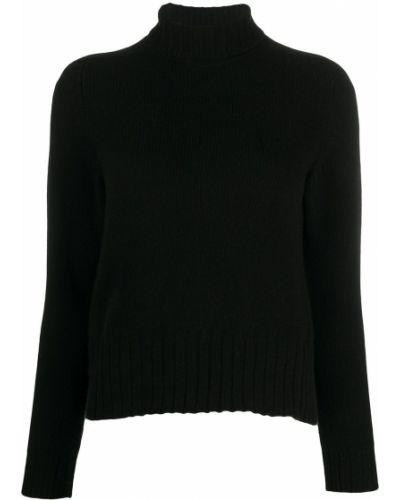 С рукавами шерстяной черный джемпер в рубчик Avant Toi