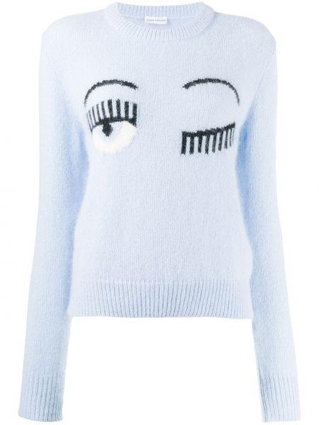 Синий свитер в рубчик свободного кроя с круглым вырезом Chiara Ferragni