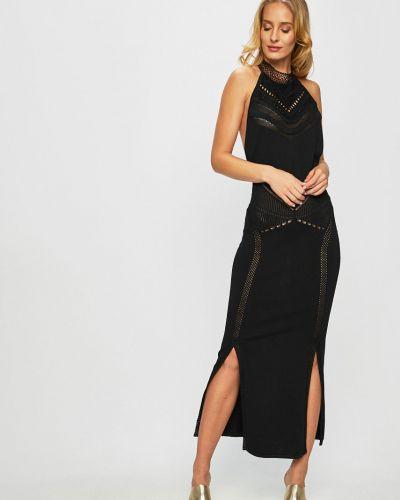 Нейлоновое прямое черное платье макси Guess Jeans