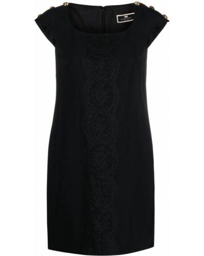 Кружевное черное платье трапеция Elisabetta Franchi