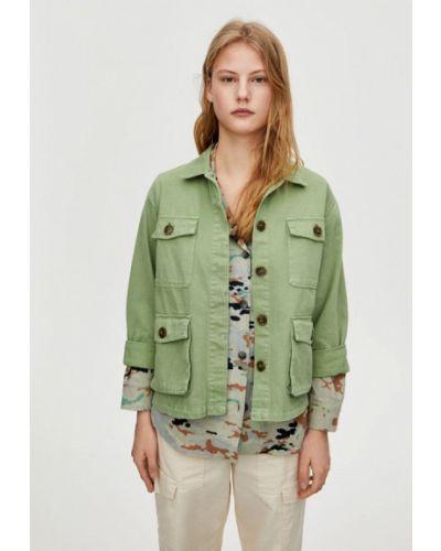 Джинсовая куртка с медведем - зеленая Pull&bear