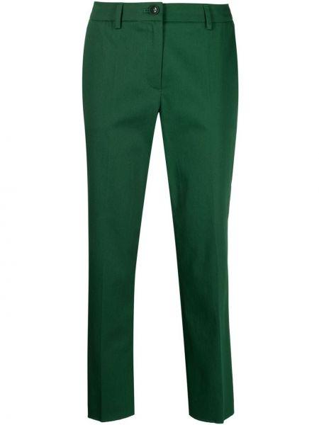 Хлопковые зеленые укороченные брюки на пуговицах Luisa Cerano