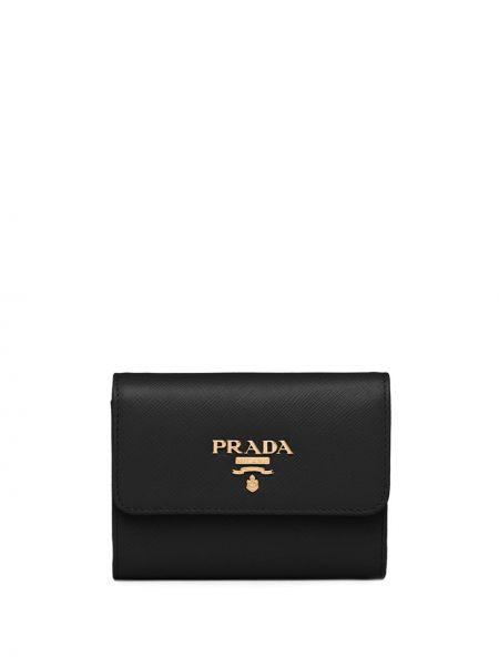 Klasyczny czarny portfel skórzany Prada