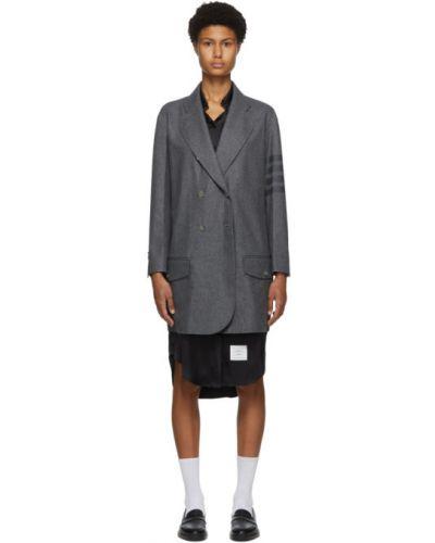Кашемировое длинное пальто двубортное с воротником Thom Browne
