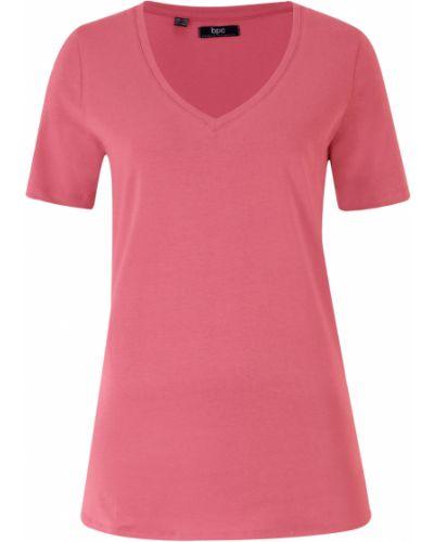 Розовая футболка с декольте Bonprix