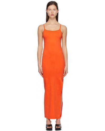 Pomarańczowa sukienka bez rękawów z nylonu Simon Miller