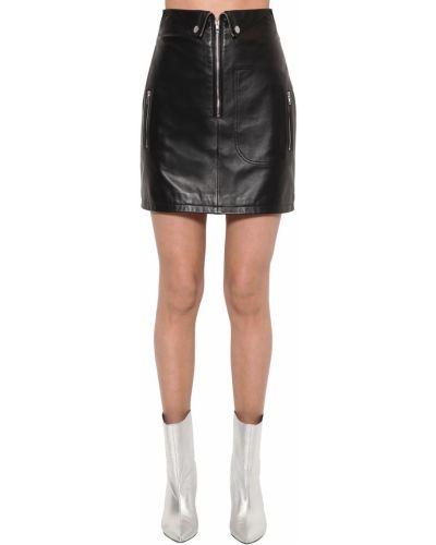 Czarna spódnica mini skórzana z wysokim stanem Annakiki