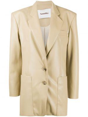 Кожаный удлиненный пиджак оверсайз с карманами Nanushka