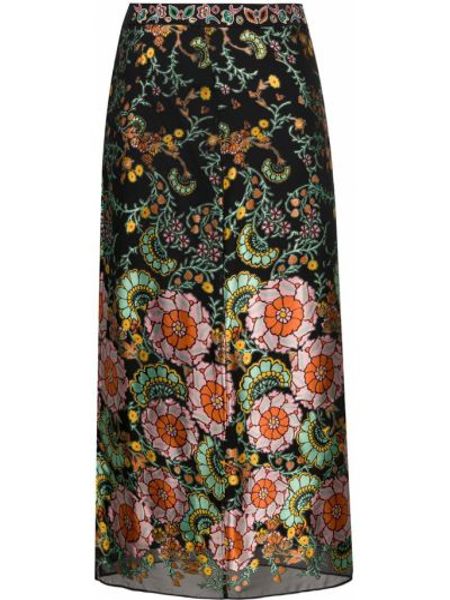 Шелковая черная с завышенной талией юбка миди на молнии Alice+olivia