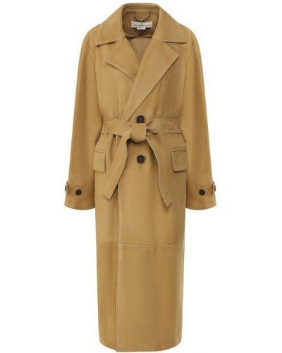Кожаное пальто бежевое замшевое Golden Goose Deluxe Brand