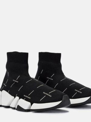 Текстильные черные кроссовки Balenciaga