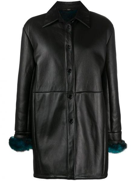 Кожаное черное пальто классическое с воротником с манжетами Gianfranco Ferre Pre-owned