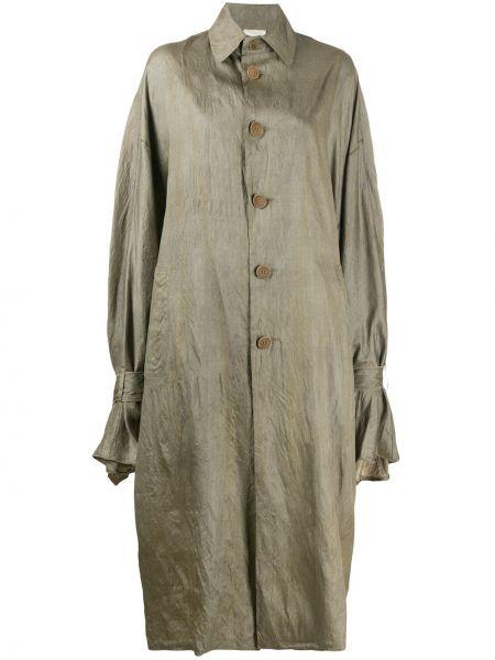 Коричневое длинное пальто оверсайз с капюшоном Phaedo Studios