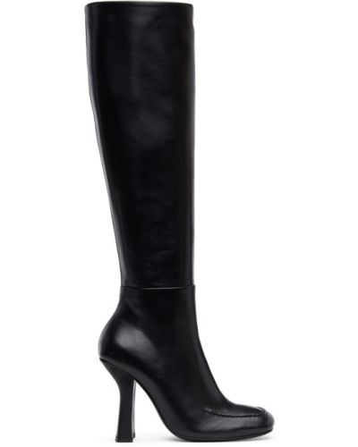 Черные сапоги без каблука на каблуке до середины колена квадратные Dorateymur