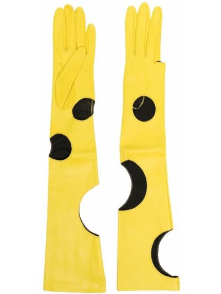 Желтые кожаные перчатки Manokhi