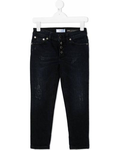 Прямые синие прямые джинсы на пуговицах с высокой посадкой Dondup Kids
