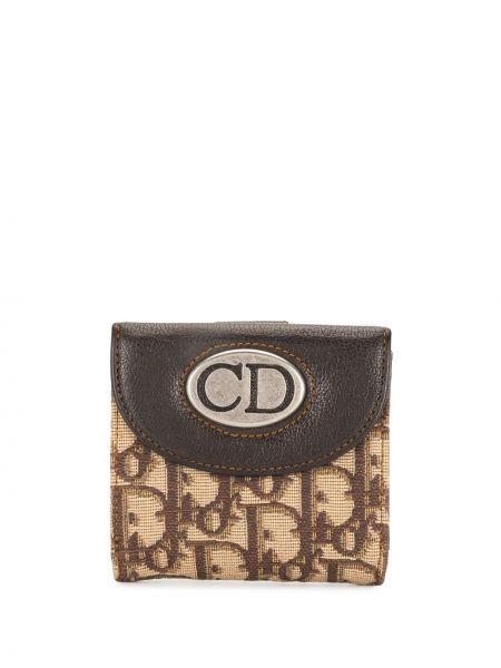 Srebro skórzany portfel z gniazdem z kieszeniami Christian Dior