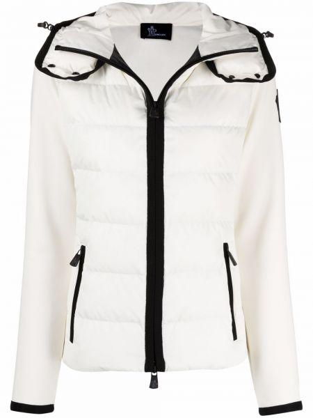 Biała kurtka puchowa z kapturem Moncler Grenoble